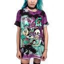 Cute Funny Cartoon Monster Skull Print Purple Tie Dye Casual Loose Tunic T-Shirt