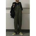Hot Popular Simple Plain Vintage Straight Unisex Bib Overalls Jumpsuits