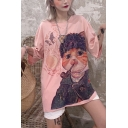 Funny Cute Cartoon Cat and Fish Pattern Round Neck Oversized T-Shirt