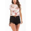 Popular Chic Floral Printed Round Neck Short Sleeve Twist Hem Cotton Slim Crop Tee