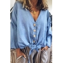 Hot Popular Simple Plain V-Neck Button Down Knotted Hem Linen Loose Blouse