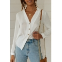 Womens Summer Chic Simple Plain V-Neck Long Sleeve Button Down White Shirt Blouse