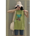 Funny Cartoon Dinosaur Printed Round Neck Sleeveless Girls Oversized Basketball Tank Top