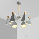 Contemporary Green/Gray/Pink Chandelier Trapezoid 6 Lights Metal Hanging Light for Living Room