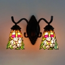 Tiffany Style Flower Sconce Light Stained Glass 2 Lights Wall Lamp for Living Room Foyer