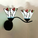 Fruit & Leaf Bedroom Sconce Light Stained Glass 2 Lights Tiffany Style Rustic Sconce Light