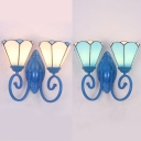 Tiffany Style Cone Wall Sconce Blue/White Glass 2 Lights Wall Light for Study Room Stair
