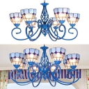 Blue Dome Shade Chandelier 6/8 Lights Mediterranean Style Glass Pendant Light for Dining Room