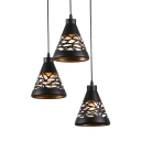 Industrial Black Pendant Lamp Cone Shade 3 Lights Metal Hanging Light for Hotel Restaurant