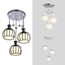 Hotel Wire Frame Suspension Light with Crystal Metal 3 Lights Decorative Hanging Light in Black/Gray/White