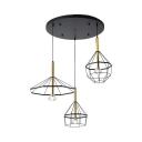 Black Round Canopy Pendant Light with Cage 3 Lights Antique Metal Hanging Light for Kitchen
