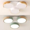 Nordic Style Round Ceiling Mount Light Acrylic 3 Heads Green/White LED Flush Mount Light for Child Bedroom