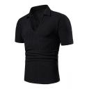Trendy Plain Texture-Print Lapel Collar V-Neck Short Sleeve Slim Fitted Polo Shirt for Men