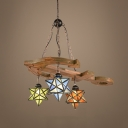 Tiffany Style Vintage Pendant Light Star Shade Stained Glass Chandelier for Restaurant  Hotel