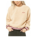 Winter CIAO Letter Print Round Neck Striped Contrast Hem Long Sleeve Plush Apricot Sweatshirt