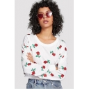 New Stylish Women's Rose Floral Print Round Neck Long Sleeve White Cropped T-Shirt