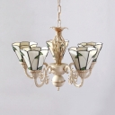 Cone Shade Dining Room Chandelier with Leaf Glass 5 Lights Rustic Style Pendant Light in Beige