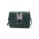 Cute Cartoon Cat Embroidery Long Strap Square Crossbody Bag 19*7*15 CM