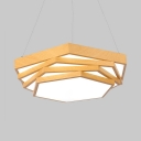 Beige Hexagon LED Suspension Light Energy Efficient Acrylic Hanging Light in Neutral/Warm/White for Study Room