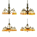Dome Shade Foyer Hanging Light Glass Metal 3/5/9/11 Lights Tiffany Style Chandelier in Yellow