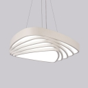 Multi Tiers Triangle Pendant Light Office Acrylic Eye-Caring Creative LED Ceiling Light in Neutral/Warm/White