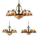 Tiffany Style Dome Hanging Light with Dragonfly/Circle/Sunflower Stained Glass 9 Lights Chandelier for Living Room