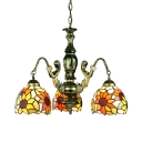 Stained Glass Sunflower Chandelier 3 Lights Tiffany Style Rustic Pendant Lamp with Mermaid for Foyer