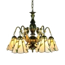 Shop Cafe Cone Hanging Lamp with Mermaid Glass 5 Lights Tiffany Style Antique Beige Chandelier