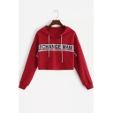 EXCHANGE Letter Red Long Sleeve Cropped Hoodie with Drawstring