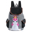 Popular Stripe Unicorn Printed Double Pocket Side Black School Backpack 28*11*39 CM