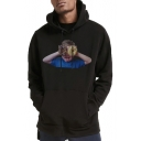 New Lovely Boy Character Print Long Sleeve Unisex Casual Sport Drawstring Hoodie