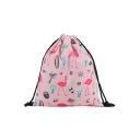 Hot Fashion Cartoon Flamingo Printed Pink Storage Bag Drawstring Backpack 30*39 CM