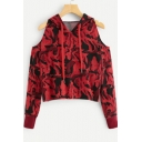 Women's Unique Camouflage Print Cold Shoulder Drawstring Hood Long Sleeve Red Hoodie