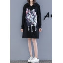 New Stylish Women's Cat Print Drawstring Hood Long Sleeve Loose Fit Black Longline Hoodie