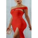 Womens Trendy Solid Color Sexy Off the Shoulder Cutout Split Side Midi Evening Dress