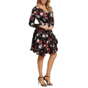 Women's Fashion Floral Print Long Sleeve V-Neck Ruffle Hem Mini A-Line Black Dress