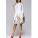 Women's Elegant Floral Print 3/4 Sleeve Round Neck Casual Midi A-Line White Dress