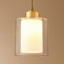 White Cylinder Shade Hanging Lamp 1 Light Simple Style Clear Glass & Frosted Glass Ceiling Light for Foyer