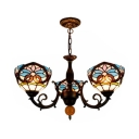 Restaurant Domed Ceiling Pendant Stained Glass 3 Lights Tiffany Style Victorian Chandelier