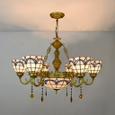 Antique Style Dome Chandelier 7 Lights Stained Glass Hanging Light for Living Room Villa
