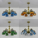 Tiffany Style Hanging Light Dome Shade 6 Lights Blue/Clear/Green/Orange Chandelier for Living Room