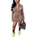 Trendy Brown Lapel Long Sleeve AUTHE Letter Patchwork Button Front Tie Waist Mini Shirt Dress