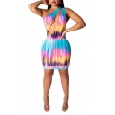 Womens Sexy One Shoulder Sleeveless Colorblock Tie Dye Cut Out Mini Bodycon Dress