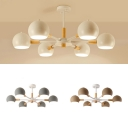 Metal Globe Chandelier 6 Lights Contemporary Pendant Lamp in Macaron White/Gray/Khaki for Bedroom