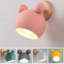 Globe Boy Girl Bedroom Sconce Light Metal 1 Light Lovely Macaron Colored Wall Light