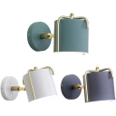 1 Light Cylinder Wall Light Simple Style Metal Wall Sconce in Macaron White/Green/Gray for Bathroom