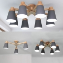 Living Room Bucket Semi Flush Mount Light Wood 3/6/8 Lights Modern Macaron Colored Ceiling Light