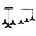 Simple Style Barn Shade Hanging Lamp 3 Lights Metal Ceiling Light in Black for Restaurant