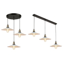 Industrial Saucer Suspension Light with Linear/Round Canopy 3 Lights Black Ceiling Pendant for Bar