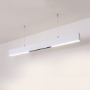 Contemporary Black/White Linear Hanging Light Eye-Caring Acrylic LED Ceiling Light in Warm/White